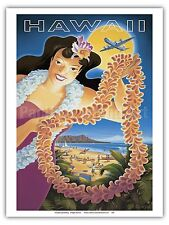 Hawaii Hula Girl Lei Vintage Style Airline Travel Art Poster Print