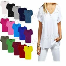Ladies Baggy Oversized V Neck Turn Up Sleeve Top Loose Batwing T-Shirt Top