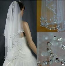 Hot sale 2T White/Ivory Elbow Beaded Edge Pearl Sequins Wedding Bridal Veil+Comb