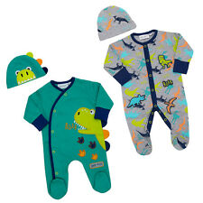 Baby Boys Dino Dinosaur 2 Piece Sleepsuit Set Romper Playsuit Hat Set 0-9 Mths