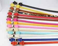 New Lady Women Leather Belt Thin Skinny Buckle Belt Candy Color Bow Waistband
