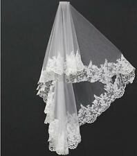 2 Layer Lace Appliques Wedding veil White/Ivory Fingertip Bridal Veil tulle+comb