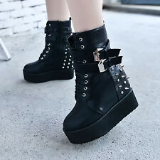 Womens Buckle lace up round toe Platform Creeper Punk Rivet Spiked Boots Shoes