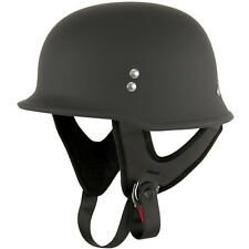 Outlaw T-75 Flat Black Retro German Army Style Motorcycle Half Helmet Skull Cap