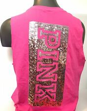 Victoria's Secret PINK Ombre Bling Sequin Raw Sleeve Muscle Tank Top L