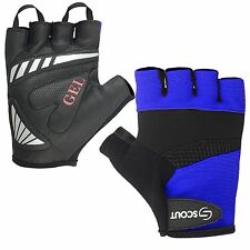 New Cycling Gloves Mountain Bike Motorcycle Half Finger Gel Padding Blue Color