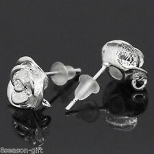 "Wholesale Lots Copper Earring Post Flower Silver Plated 18mmx10mm(6/8""x3/8"")"