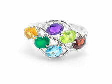 925 Sterling Silver Ring with Citrine Onyx Blue Topaz Amethyst Peridot Rhodolite