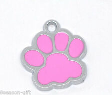 Wholesale Lots Silver Tone Enamel Dog' Paw Charm Pendants 18x17mm