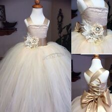 Princess Formal Lace Bridesmaid Flower Girl Dress Wedding Party Prom Ball Gown