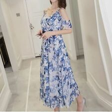 Bohemia Cold Shoulder Women Summer V-neck Long Maxi Floral Print Chiffon Dress