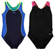 Girls Slazenger Navy/Black Racer Sportback Swimming Costume Swimsuit~ 7-13 years
