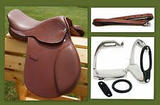 "12"" 13"" 15"" Tan Close Contact EVENT Show Saddle +Leathers 36"" +Stirrup Irons 3pc"