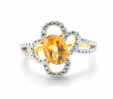 925 Sterling Silver Ring with Yellow Citrine Oval Cut Natural Gemstone Handmade.