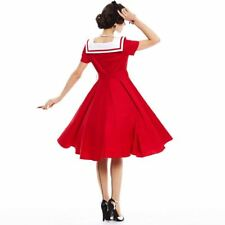 Summer Spring Style Red Color Pin Up Short Sleeve Vintage Dress For Women