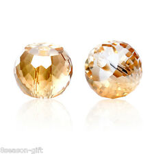 Wholesale Lots Glass Loose Beads Round Champagne Transparent Faceted