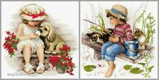 NEW UNOPENED Russian Counted Cross Stitch KIT Riolis Girl Boy Cats Puppy Dog