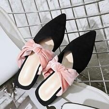 Bowknot Pointy Toe Womens Suede Sandals Chic Shoes Mules Slipper low block heel