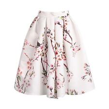 Women High Waisted Fashion Apricot Floral Print Pleated Skirt St0286
