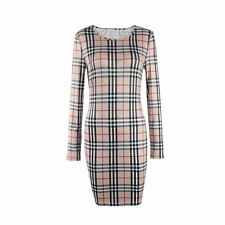 Vintage Plaid Classic Autumn Winter Party O-Neck Long Sleeve Dress For Women