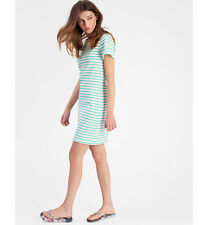 NEW JOULES RIVIERA (W) HOPE STRIPE OCEAN GREEN JERSEY T-SHIRT DRESS FREE P&P