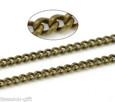 Wholesale Lots Bronze Tone Link-Soldered Curb Chains 3x2mm