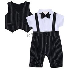 Baby Boys Gentleman Romper Bodysuit Waistcoat Bowknot Stripe Outfit Baby Clothes