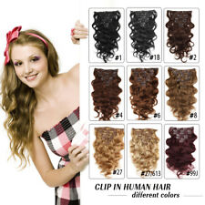 """14"""" 100% Real Body Wave Clip In Weave Human Virgin Hair Extensions 70g /7PCS"""
