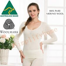 Thermo Fleece Women100% Pure Merino Wool Long Sleeve Top Thermal Underwear 01