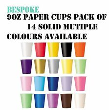 14 Paper Cup 9oz Birthday Party Tableware Baby Bridal Shower Christening Wedding