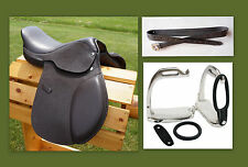 "12"" 13"" 15"" BROWN Close Contact EVENT Show Saddle Leathers 48"" Stirrup Irons 3pc"