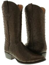 mens brown full ostrich quill exotic print collection western cowboy boots