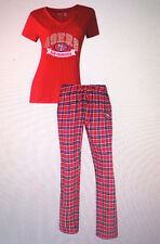 San Francisco 49ers Ladies 2 Piece Sleep Set V-Neck Tshirt & Flannel Pajama -NFL