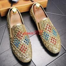 Fashion punk Mens Spike Rivet studded shoes Sequins Slip On Casual Loafers