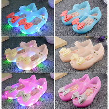 Kids Girls Toddler Lovely Jelly Shoes Bow Princess Sandals Luminous Flat Shoes