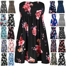 Womens Sheering Ruched Boobtube Gathered Bandeau Top Ladies Floral Rose Dress