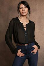 NEXT SZ 12 BLACK CLASSY LACE UP CHIFFON BLOUSE TOP BNWT.. NEW IN rrp £36