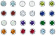 Sterling Silver 5 mm Round Faceted Gemstone Earring (12 Birthstone Colors)