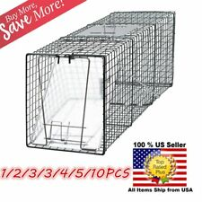 """Lot Animal Trap 32""""x12""""x12"""" Large Steel Cage Spring Loaded Humane Rodent Possum@"""