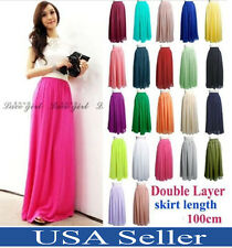 Women Adult Teen Double Layer Chiffon Long Maxi Elastic Waist Skirt Dress