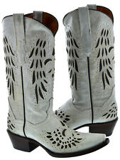 Womens Off-White Studded Fleur Flower Design Cowboy Cowgirl Leather Boots