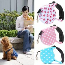 5M Nylon Strap One-handed Lock Automatic Retractable Pet Lead Rope Dog Leash