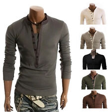 Fashion Mens Button Front Long Sleeve T-Shirt V-neck Casual Slim Fit Shirts tops
