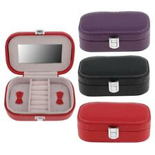 Portable Travel Earring Ring Jewelry Box Jewellery Case Storage Gift with Glass
