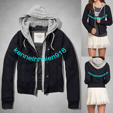 NWT ABERCROMBIE & FITCH WOMENS ANGIE BOMBER HOODIE JACKET NAVY SIZE LARGE A&F
