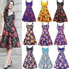 Ladies Retro Vintage 1950's Rockabilly Swing Pin Up Prom Rose Floral Dress 8-20