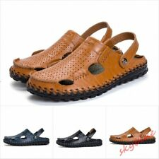 Mens Closed Toe Real Leather Hollow Casual Sandal Shoes Summer Slipper Shoes New