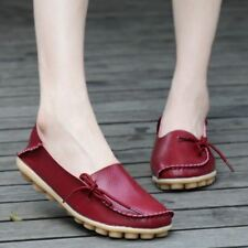 Women Flat Slip On Plus Siz Fashion Casual Loafer Shoes Dark Red Color