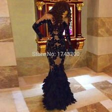 Womens 2017 High Neck Long Sleeve Mermaid Ruffles Floor Length Beading Formal Dr