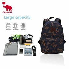 Oiwas Denim Fabric Laptop Backpack Dual Thicken Interlayer Multi-function OE